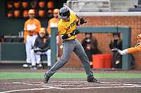 Appalachian State Mountaineers second baseman Luke Drumheller (4) is hit by a pitch during a game against the Tennessee Volunteers at Lindsey Nelson Stadium on February 16, 2019 in Knoxville, Tennessee. The Volunteers defeated Mountaineers 2-0. (Tony Farlow/Four Seam Images)
