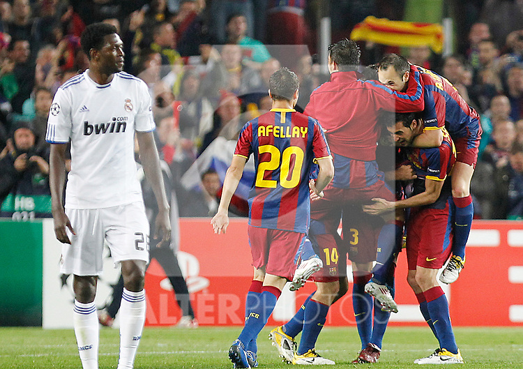 FC Barcelona's Ibrahim Afellay, David Villa, Javier Mascherano, Sergio Busquets, Gerard Pique and Andres Iniesta celebrate the victory in the UEFA Champions League Semifinal match in presence of Real Madrid's Emmanuel Adebayor.May 3,2011.(ALTERPHOTOS/Acero)