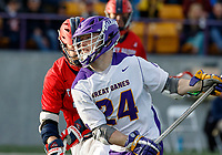 UAlbany Men's Lacrosse defeats Stony Brook on March 31 at Casey Stadium.  Alex Burgmaster (#24) shoots.