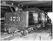D&amp;RGW #473 K-28 in Durango roundhouse.<br /> D&amp;RGW  Durango, CO  Taken by Payne, Andy M. - 8/6/1966