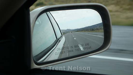 rear-view mirror. driving south on I-15 ; 9.11.2007