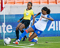 HOUSTON, TX - FEBRUARY 3: Chelsea Surpris #3 of Haiti attempts to keep a ball in bounds during a game between Panama and Haiti at BBVA Stadium on February 3, 2020 in Houston, Texas.