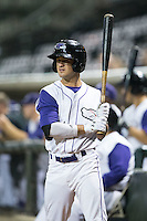 Eddy Alvarez (1) of the Winston-Salem Dash waits for his turn to bat during the game against the Carolina Mudcats at BB&T Ballpark on July 23, 2015 in Winston-Salem, North Carolina.  The Dash defeated the Mudcats 3-2.  (Brian Westerholt/Four Seam Images)