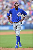 Chicago Cubs center fielder Dexter Fielder (24) during a game against the Atlanta Braves at Turner Field on June 11, 2016 in Atlanta, Georgia. The Cubs defeated the Braves 8-2. (Tony Farlow/Four Seam Images)