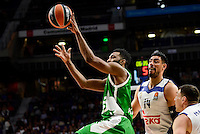 Real Madrid's player Gustavo Ayon and Jonas Maciulis and Unics Kazan's player Keith Langford during match of Turkish Airlines Euroleague at Barclaycard Center in Madrid. November 24, Spain. 2016. (ALTERPHOTOS/BorjaB.Hojas) //NORTEPHOTO