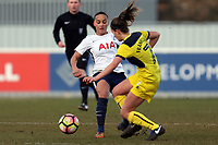 Ella Frankin Fraiture of Oxford United Ladies and Bianca Baptiste of Tottenham Ladies during Tottenham Hotspur Ladies vs Oxford United Women, FA Women's Super League FA WSL2 Football at Theobalds Lane on 11th February 2018