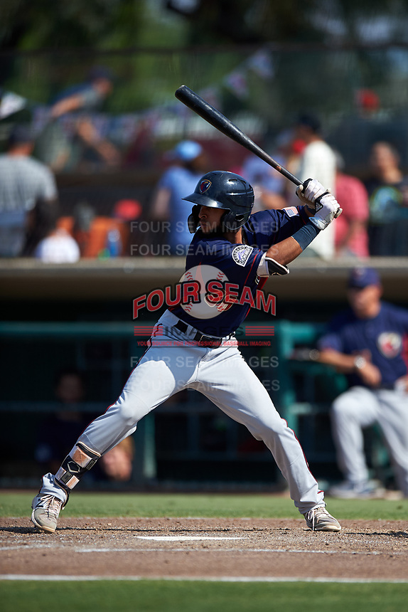 Lancaster JetHawks shortstop Carlos Herrera (36) at bat during a California League game against the Inland Empire 66ers at San Manuel Stadium on May 20, 2018 in San Bernardino, California. Inland Empire defeated Lancaster 12-2. (Zachary Lucy/Four Seam Images)