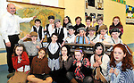 """Diarmuid Cahill, Louise Healy, Calum Neher, Fionn Holohan and Alan O""""Sullivan dressed in period costume pictured enjoying Lissivigeen School's 150 years celebration on Thursday. All the pupils attended class in period costume in one of Kerry's oldest schools about three miles from Killarney..Picture by Don MacMonagle"""