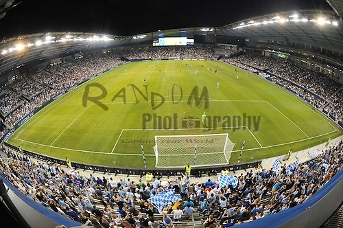 July 30, 2011; Kansas City, KS, USA; A general view of LIVESTRONG Sporting Park during the soccer match at between Sporting KC and the New England Revolution. The match ended in a 1-1 draw. Mandatory Credit: Denny Medley-US PRESSWIRE