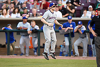 "A performer wearing a South Bend Cubs uniform is ""tricked"" into doing jump rope all alone during a game against the Dayton Dragons on May 11, 2016 at Fifth Third Field in Dayton, Ohio.  South Bend defeated Dayton 2-0.  (Mike Janes/Four Seam Images)"