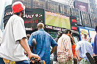 Assorted Ghana and United States fans watch their teams play against one another on June 22, 2006 on a large outdoor Jumbo Tron at Times Square in New York City.<br /> <br /> The World Cup, held every four years in different locales, is the world's pre-eminent sports tournament in the world's most popular sport, soccer (or football, as most of the world calls it).  Qualification for the World Cup is open to any country with a national team accredited by FIFA, world soccer's governing body. The first World Cup, organized by FIFA in response to the popularity of the first Olympic Games' soccer tournaments, was held in 1930 in Uruguay and was participated in by 13 nations.    <br /> <br /> As of 2010 there are 208 such teams.  The final field of the World Cup is narrowed down to 32 national teams in the three years preceding the tournament, with each region of the world allotted a specific number of spots.  <br /> <br /> The World Cup is the most widely regularly watched event in the world, with soccer teams being a source of national pride.  In most nations, the whole country is at a standstill when their team is playing in the tournament, everyone's eyes glued to their televisions or their ears to the radio, to see if their team will prevail.  While the United States in general is a conspicuous exception to the grip of World Cup fever there is one city that is a rather large exception to that rule.  In New York City, the most diverse city in a nation of immigrants, the melting pot that is America is on full display as fans of all nations gather in all possible venues to watch their teams and celebrate where they have come from.