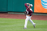 Patrick Drake #5 of the Missouri State Bears throws a ball back into the infield during a game against the Wichita State Shockers at Hammons Field on May 5, 2013 in Springfield, Missouri. (David Welker/Four Seam Images)