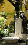 Statues in the garden of the Sorolla Museum in Madrid, Spain.