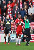 5th November 2017, Riverside Stadium, Middlesbrough, England; EFL Championship football, Middlesbrough versus Sunderland; Britt Assombalonga of Middlesbrough pleads with the ref after he had a foul given against him John O'Shea of Sunderland also appeals to the ref