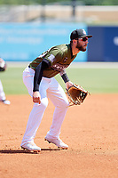 Biloxi Shuckers third baseman Lucas Erceg (17) during a game against the Jacksonville Jumbo Shrimp on May 6, 2018 at MGM Park in Biloxi, Mississippi.  Biloxi defeated Jacksonville 6-5.  (Mike Janes/Four Seam Images)