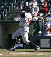 May 30, 2004:  Outfielder Derek Nicholson of the Toledo Mudhens during a game at Frontier Field in Rochester, NY.  The Mudhens are the Triple-A International League affiliate of the Detroit Tigers.  Photo By Mike Janes/Four Seam Images