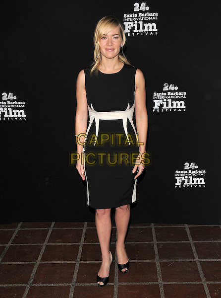 KATE WNSLET .at The Santa Barbara Film Festival, at The Arlington Theatre in Santa Barbara, California, USA, January 23th 2009                                                                     .full length black sleeveless dress cream white waistband peep toe shoes .CAP/DVS.©Debbie VanStory/Capital Pictures
