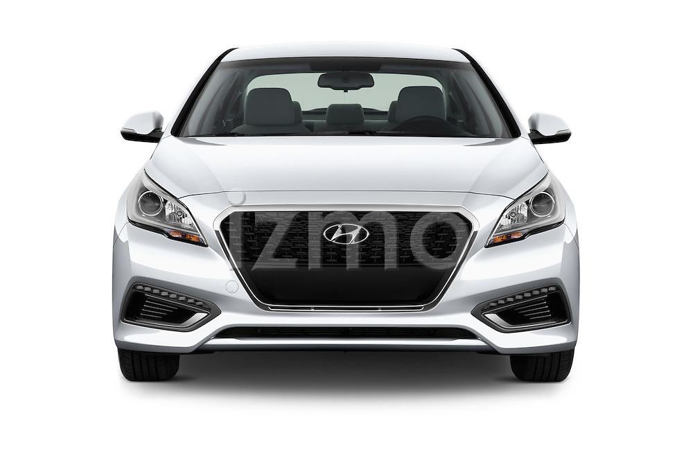 Car photography straight front view of a 2017 Hyundai Sonata-Hybrid Hybrid 4 Door Sedan Front View