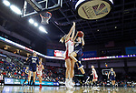 SIOUX FALLS, SD - MARCH 8: Jentry Holt #41 of Oral Roberts flies into South Dakota defender Hannah Sjerven #34 at the 2020 Summit League Basketball Championship in Sioux Falls, SD. (Photo by Richard Carlson/Inertia)