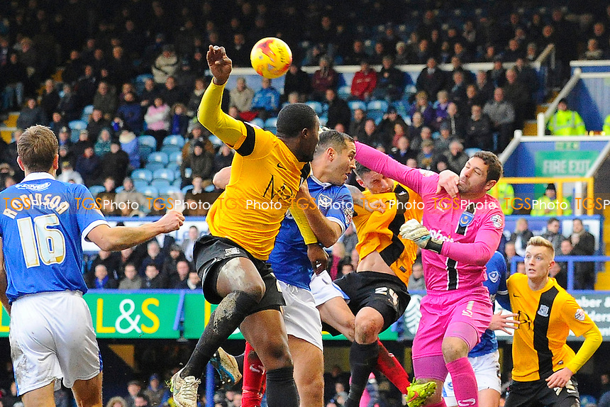 Paul jones of Portsmouth punches clear - Portsmouth vs Southend - Sky Bet League Two Football at Fratton Park, Portsmouth, Hampshire - 24/01/15 - MANDATORY CREDIT: Denis Murphy/TGSPHOTO - Self billing applies where appropriate - contact@tgsphoto.co.uk - NO UNPAID USE