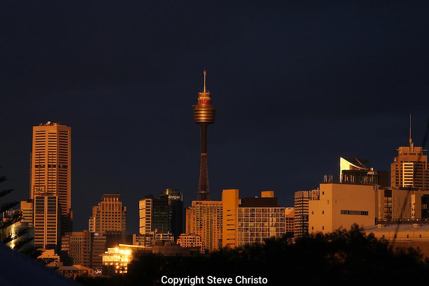Sunset over Sydney from Rozelle on Saturday, June 15th 2015, Sydney, Australia.  (Photo: Steve Christo).