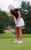 NWA Democrat-Gazette/CHARLIE KAIJO Bentonville girls golfer, Lilly Thomas, putts during a golf tournament, Thursday, September 6, 2018 at the Bella Vista Country Club in Bella Vista. <br />