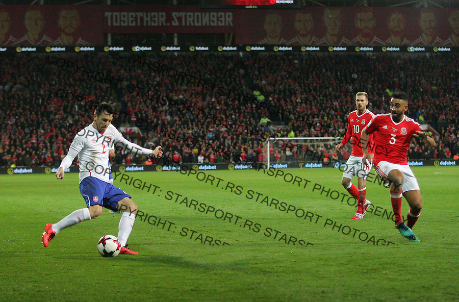 (copyright &amp; photo: STARSPORT)<br /> 12.11.16 World Cup Qualifier -  European Group D - Wales v Serbia -<br /> Antonio Rukavina of Serbia crosses for Alexsandar Mitrovic to score