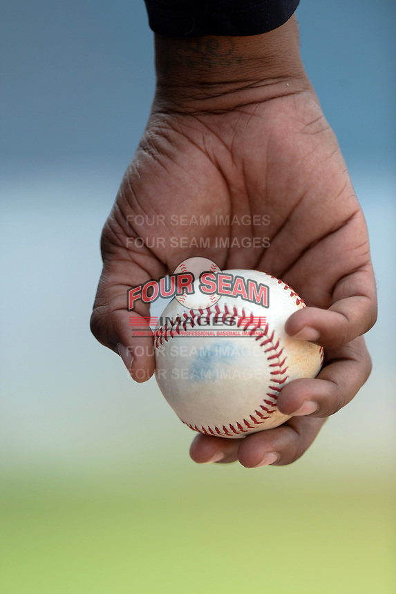 New York Yankees coach holding a baseball in the dugout during an Instructional League game against the Toronto Blue Jays on September 24, 2014 at George M. Steinbrenner Field in Tampa, Florida.  (Mike Janes/Four Seam Images)