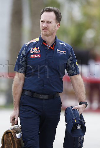 01.04.2016. Bahrain. FIA Formula One World Championship 2016, Grand Prix of Bahrain, Practise day.  Christian Horner (GBR, Infiniti Red Bull Racing)