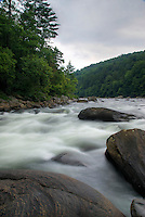 "Rapids on the Youghiogheny River, Pennsylvania. Nicknamed the ""Yough"", this river is a tributary of the Monongahela River which drains a portion of the west side of the Allegheny Mountains. It's a popular river for whitewater kayaking and rafting."