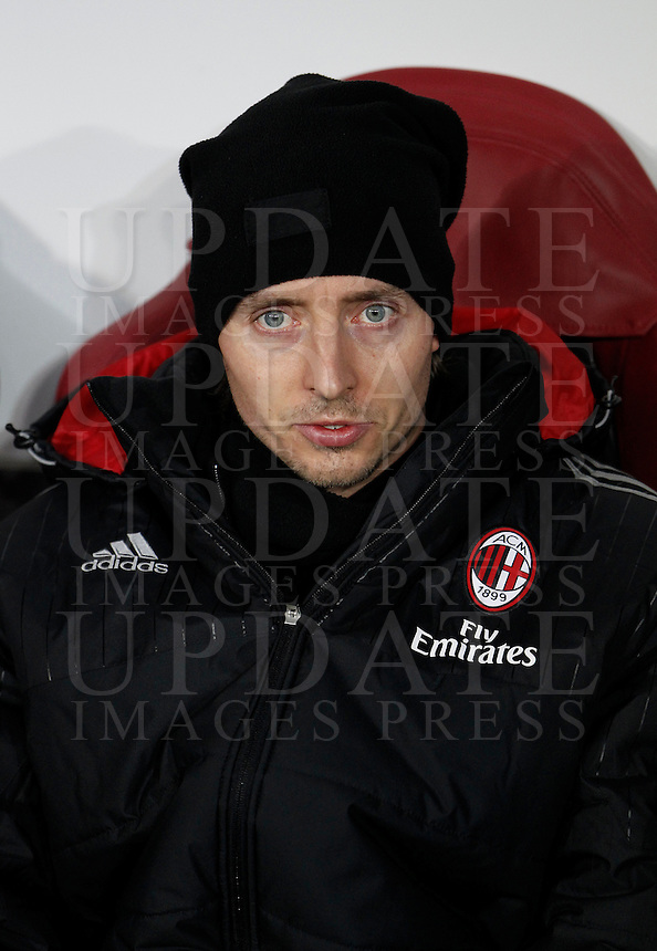 Calcio, quarti di finale di Coppa Italia: Alessandria vs Milan. Torino, stadio Olimpico, 26 gennaio 2016.<br /> AC Milan's Riccardo Montolivo sits on the bench during the Italian Cup semifinal first leg football match between Alessandria and AC Milan at Turin's Olympic stadium, 26 January 2016.<br /> UPDATE IMAGES PRESS/Isabella Bonotto
