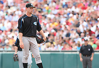 """Syracuse Chiefs starting pitcher Stephen Strasburg (37) waits for manager Trent Jewett to visit the mound in the third inning during a game vs. the Buffalo Bisons at Coca-Cola Field in Buffalo, New York;  Thursday June 3, 2010.  Syracuse defeated Buffalo by the score of 7-1 as Strasburg picked up his fourth win of the season in """"AAA"""".  Photo By Mike Janes/Four Seam Images"""