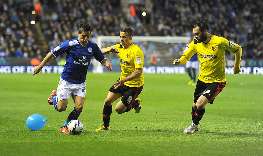 Leicester City's Anthony Knockaert battles with Watford's Jonathan Hogg and Marco Cassetti .. - (Photo by Stephen White/CameraSport) - ..Football - npower Football League Championship Play-Offs Semi-Final First Leg - Leicester City v Watford - Thursday 9th May 2013 - King Power Stadium - Leicester..© CameraSport - 43 Linden Ave. Countesthorpe. Leicester. England. LE8 5PG - Tel: +44 (0) 116 277 4147 - admin@camerasport.com - www.camerasport.com