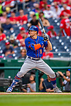 22 September 2018: New York Mets outfielder Brandon Nimmo at bat against the Washington Nationals at Nationals Park in Washington, DC. The Nationals shut out the Mets 6-0 in the 3rd game of their 4-game series. Mandatory Credit: Ed Wolfstein Photo *** RAW (NEF) Image File Available ***