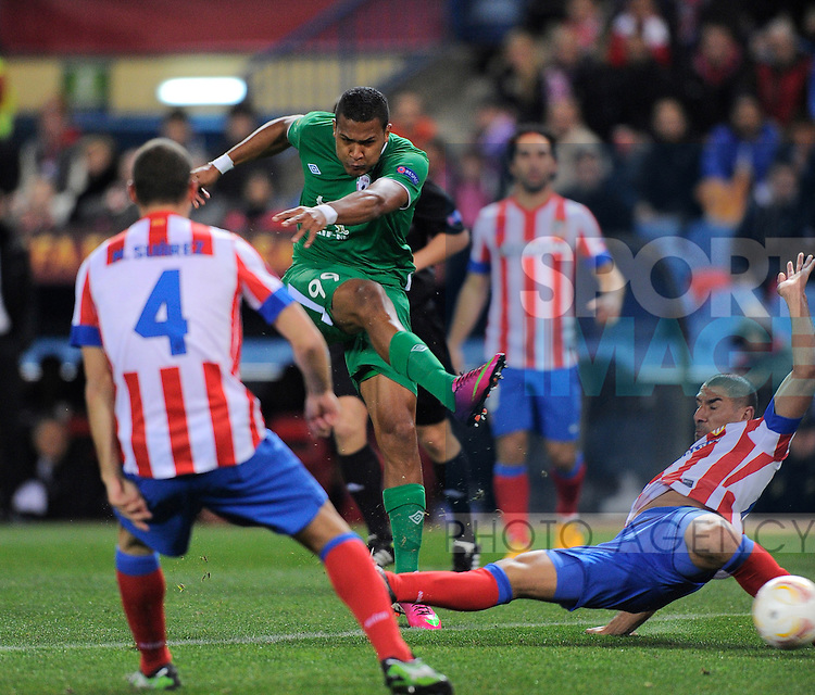 Salomon Rondon of Rubin Kazan takes a shot on goal which leads to the first goal - UEFA Europa League Round of 32 - Atletico Madrid vs Rubin Kazam - Vincente Calderon Stadium - Madrid - 14/02/13 - Picture Simon Bellis/Sportimage