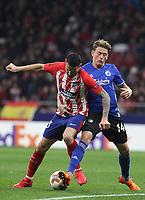 Atletico Madrid's Spanish midfielder Vitolo; Copenhague's player Nicolaj Thomsen