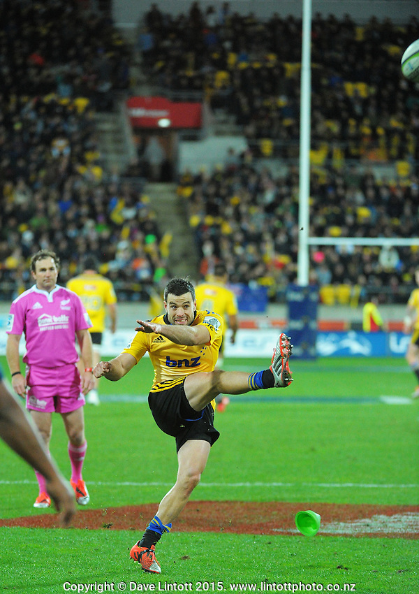James Marshall kicks for goal during the Super Rugby semifinal match between the Hurricanes and Brumbies at Westpac Stadium, Wellington, New Zealand on Saturday, 27 June 2015. Photo: Dave Lintott / lintottphoto.co.nz