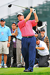 29 August 2009: Paul Goydos tees off on the 15th hole during the third round of The Barclays PGA Playoffs at Liberty National Golf Course in Jersey City, New Jersey.