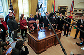 United States President Donald J. Trump speaks during a meeting with American manufacturers in the Oval Office of the White House on January 31, 2019 in Washington, DC. <br /> Credit: Oliver Contreras / Pool via CNP