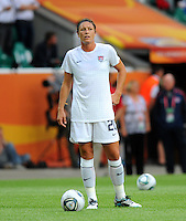 Abby Wambach of team USA during the FIFA Women's World Cup at the FIFA Stadium in Wolfsburg, Germany on July 6thd, 2011.