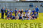 Teacher Derek Griffin and  coach David O'De,  South Kerry Hurling Development Officer with Students of CBS Clounalour taking part in Active schools week on Tuesday