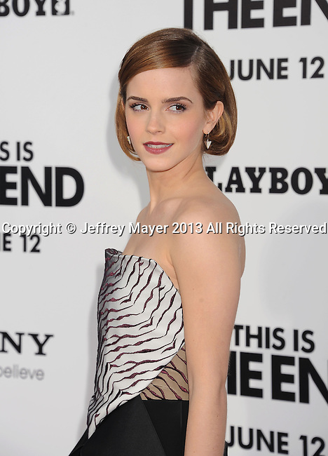 WESTWOOD, CA- JUNE 03: Actress Emma Watson arrives at the 'This Is The End' - Los Angeles Premiere at Regency Village Theatre on June 3, 2013 in Westwood, California.