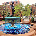 A statue stands in a fountain on the Country Club Plaza in Kansas City, Missouri.