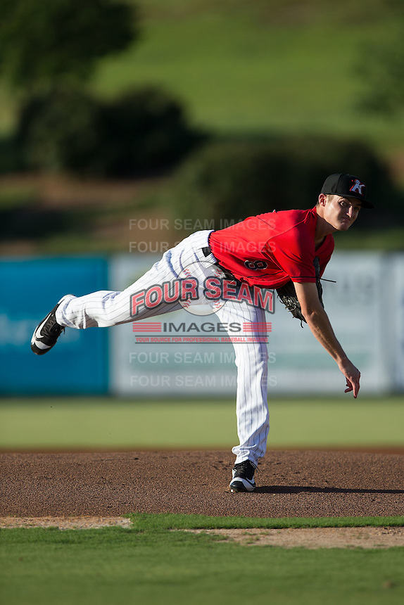 Kannapolis Intimidators starting pitcher Jimmy Lambert (8) follows through on his delivery against the Lexington Legends at Kannapolis Intimidators Stadium on July 12, 2016 in Kannapolis, North Carolina.  (Brian Westerholt/Four Seam Images)