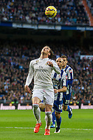Real Madrid´s Gareth Bale and Deportivo de la Coruna's Laureano Sanabria Ruiz during 2014-15 La Liga match between Real Madrid and Deportivo de la Coruna at Santiago Bernabeu stadium in Madrid, Spain. February 14, 2015. (ALTERPHOTOS/Luis Fernandez) /NORTEphoto.com