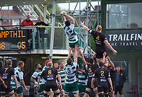 Ben West of Ealing Trailfinders wins the line out during the RFU Championship Cup match between Ealing Trailfinders and Ampthill RUFC at Castle Bar , West Ealing , England  on 28 September 2019. Photo by Alan  Stanford / PRiME Media Images