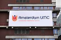 Nederland  Amsterdam -  September 2018. AMC. Academisch Medisch Centrum. Fusie met het VU Medisch Centrum. Op het witte doek staat het nieuwe logo. Amsterdam UMC.  Foto Berlinda van Dam / Hollandse Hoogte