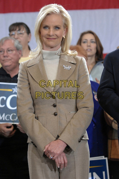 CINDY McCAIN.Senator John McCain makes a campaign stop in Myrtle Beach as his Presidential Campaign tours through the state of South Carolina, Myrtle Beach, South Carolina, USA,.18 January 2008..half length beige jacket suit polo neck.CAP/ADM/MO.©Moose/AdMedia/Capital Pictures.
