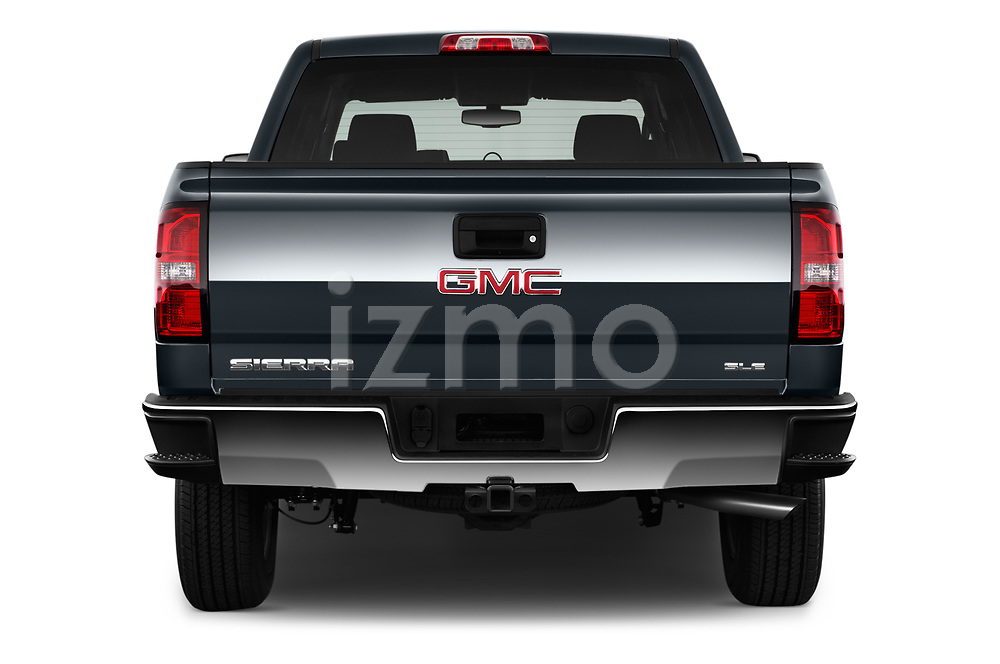 Straight rear view of 2017 GMC Sierra-1500 Crew-SLE 4 Door Pickup Rear View  stock images