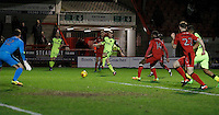 Exeter City's Jack Stacey fires in a dangerous ball during the Sky Bet League 2 match between Crawley Town and Exeter City at Broadfield Stadium, Crawley, England on 28 February 2017. Photo by Carlton Myrie / PRiME Media Images.